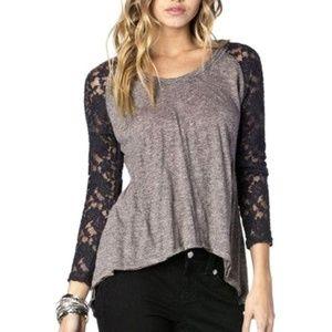 Miss Me Lace Sleeve Peplum Hoodie Shirt